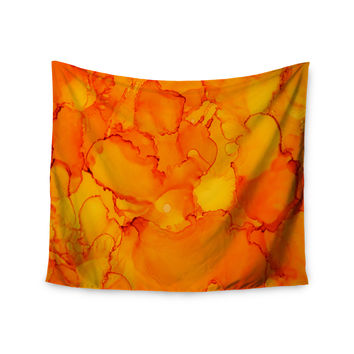 """Claire Day """"Yellow"""" Orange Wall Tapestry"""
