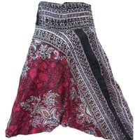 Pink Harem Pants- Baggy Genie Harem Pants Trouser jumpsuit Yoga Boho Gypsy Indian women Flower Printed Pants
