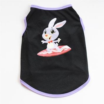 Surfing Surfer Slacker T-shirt Dog Clothes Surfing Rabbit Bunny Cartoon Print Black Pet Vest Summer Soft Shirt Puppy Cat Apparel Pets Costumes For Small Dogs KO_12_1