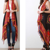 New African Red Tribal Dashiki Print One Size Scarf Vest With Fringe