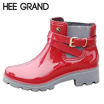 HEE GRAND Rain Boots 2017 Women Ankle Boots Casual Rubber Platform Shoes Woman Creeper