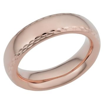 14k Rose Gold Diamond Cut 6mm Wide Wedding Band Ring