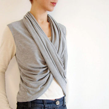 Versatile Wrap Top Cotton Shrug in Grey by LuciaVerona on Etsy