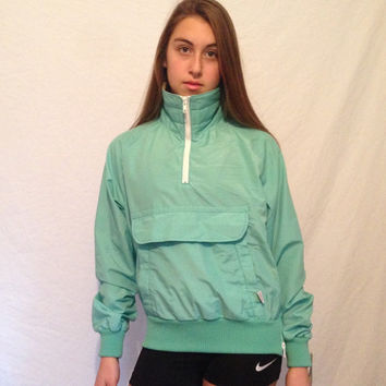 Deadstock Vintage Columbia Green 1/2 Zip Jacket 80's Ski Coat Made in the USA Womens Small Medium