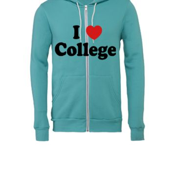 I Love College - Unisex Full-Zip Hooded Sweatshirt