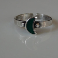 Toe Ring Green Crescent Moon Sterling Silver Toe Ring Stacking Band Adjustable Sexy Beach Jewelry Knuckle Unisex