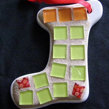 Christmas Stocking  Ornament with Lime Green Stained Glass