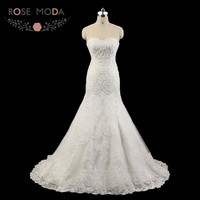 Rose Moda Delicate Beaded Mermaid Wedding Dress Strapless Lace Wedding Dresses 2018