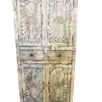 Mogul Interior Indian Antique Armoire Chakra Carving Cabinet with Drawers Urban Farmhouse
