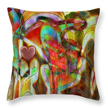 "Psychedelic Emotions Throw Pillow 14"" x 14"""