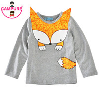 New 2017 Toddler Kids Spring Autumn Cute Cartoon Fox T-shirt Infant Baby Boys Girls Long Sleeve T-shirt Clothes Casual Clothing