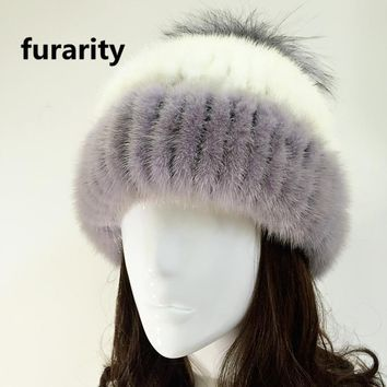 Women Winter Hat Women 2017 New Real Fur Pom Fluffy Ball Hat Cap Fox Ball Mink Fur Fashion Russian Cap Hat For Girls Beanies