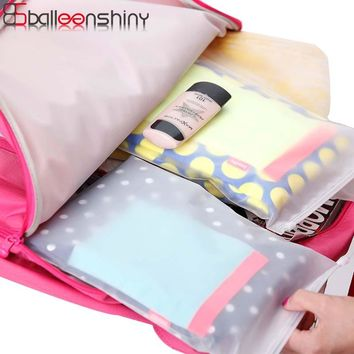 BalleenShiny 5pcs/set Frosted Transparent Storage Bag Travel Cosmetic Pouch Waterproof Zip lock Shoes Bag Clothes Organizer