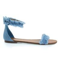 Shine07 Blue Jean Denim By Breckelle's, Flat Sandal w Destroyed & Frayed Edge Seams, Ankle Strap Summer Shoe