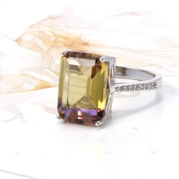 Harmony Emerald Cut Simulated Ametrine Solitaire Ring