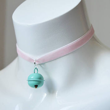 Kitten play day choker - velvet ribbon - pastel pink with blue bell - kittenplay neko ddlg cute necklace for everyday wearing