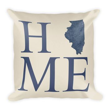 Illinois Map Pillow – Modern Map Art