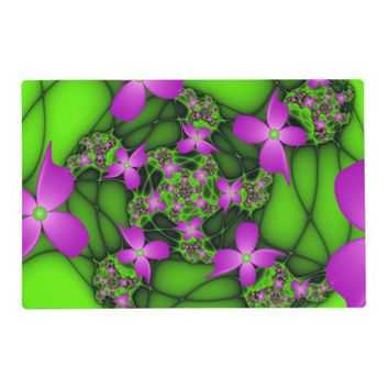 Modern Abstract Neon Pink Green Fractal Flowers Placemat
