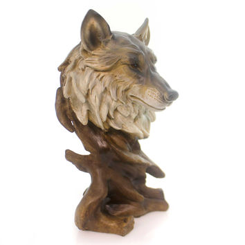 "Animal Wolf Bust 11"" Tall . Figurine"