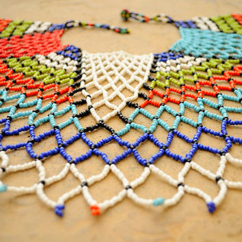 Royal Tribal Necklace, Beaded Shoulder Necklace,Ethnic Collar necklace,African Statement necklace,African beadwork, Zulu jewellery