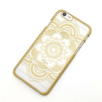 Beautiful Floral Henna Paisley Mandala Palace Flower Gold Phone Back Bumper Cover Case For iPhone 5 5s 5C SE 6 6s 6 Plus 6s Plus