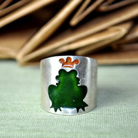 Kiss The Frog Sterling Silver Ring featuring a by MarrenJewelry