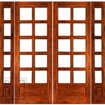Prehung Rustic-10-lite-P/B French Solid IG Glass Double Door Sidelights