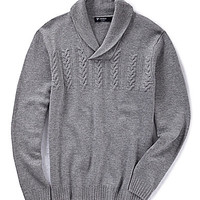 Cremieux Cable Chest Shawl Sweater - Medium Grey Heather