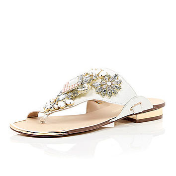 River Island Womens White heavily embellished sandals