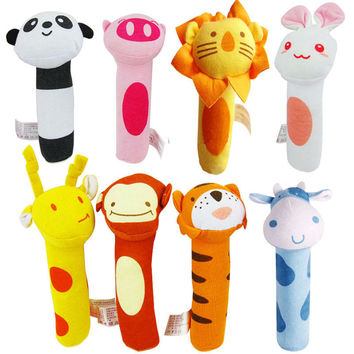 New Soft Animal Stuffed Rattle Toy Infant Baby Mini Grasping Playing Plush Toys Kids Developmental Doll Toy