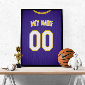Los Angeles Lakers Jersey Poster - Print Personalized Select ANY Name & ANY Number