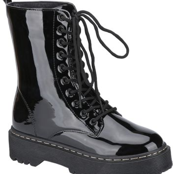 Patent Lace Up Work Boot (BLACK)