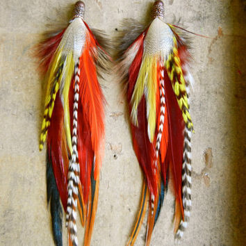 SALE: 20 Percent OFF the ENTIRE shop - Posted Fireside Long Feather Earrings