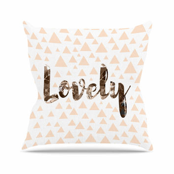 "Suzanne Carter ""Lovely"" Beige Digital Outdoor Throw Pillow"