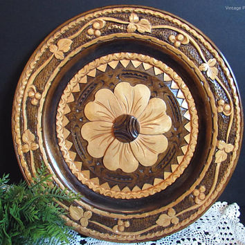 Vintage Carved Wood Plate, Wall Hanging, Flower Carving, Handmade Folk Art, Boho / Bohemian Decor