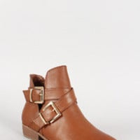 Women's Bamboo Leatherette Double Buckle Cross Strap Ankle Bootie