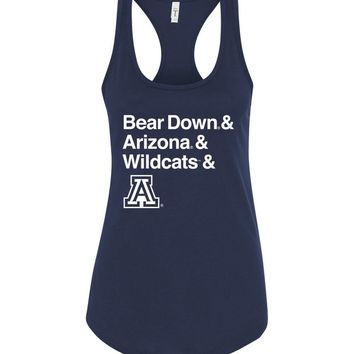 Official NCAA Venley University of Arizona Wildcats U of A Wilber Wildcat BEAR DOWN! Next Level Racerback Tank - 34ua