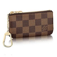 Fanewants / LV Louis Vuitton Monogram Coffee Tartan Canvas PU Small Coin Purse Key Pouch