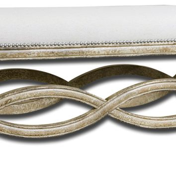 Karline Hand Carved Natural Linen Bench by Uttermost