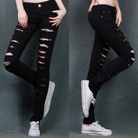 Womens Black Cotten Denim Punk Ripped Jeans Sexy Slim Cut off Leggings S M L = 1929773252