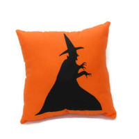 Orange Witch Halloween Pillow, Decorative Pillow, Halloween Decor, Autumn Throw Pillow, Halloween Decorations, Wicked Witch, Wizard of Oz
