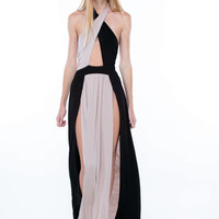 Double Down Colorblock Slit Halter Maxi