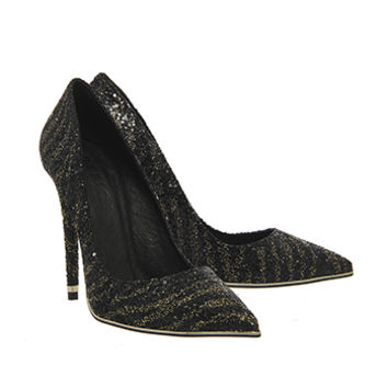 Office Poison Metal Detail Point Courts Black Gold Glitter - High Heels