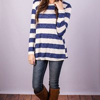 Casual Long Sleeve Back Button Striped T-shirt