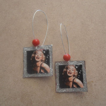 Marilyn Monroe Metal Earrings with Red Beads by litsakiv on Etsy