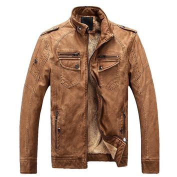Laamei Winter Jacket Men Stand Collar Motorcycle Leather Jackets Plus Velvet Washed Retro Pu Leather Jacket Thicken Warm Coats