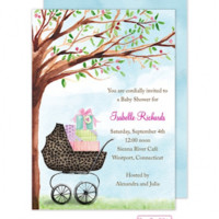BABY SHOWER INVITATIONS, LEOPARD PRINT CARRIAGE, BONNIE MARCUS NEW