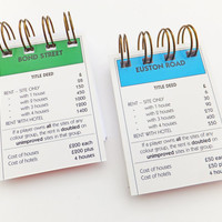 Up-cycled Monopoly notebooks - set of 2 mini notebooks, Euston Road and Bond Street Property Cards, London Monopoly, stocking filler