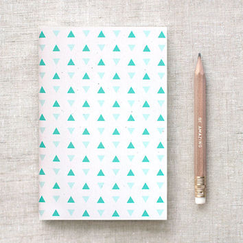 Geometric Mini Journal & Gold Foil Pencil Set - Petite Triangles Mint Green, Navy Blue OR Coral