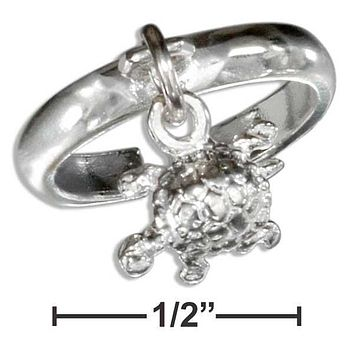 STERLING SILVER TURTLE CHARM TOE RING